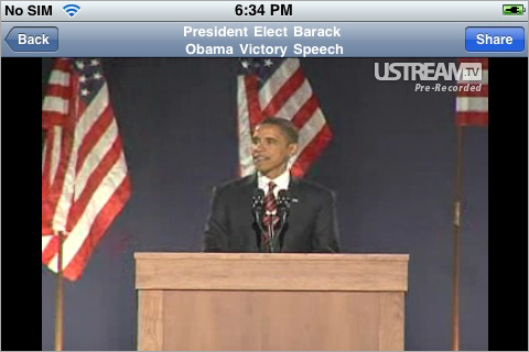 Ustream's iPhone Viewer App Now Live In Time For the Inauguration