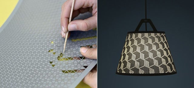 Poke Out Parts of This Perforated Lamp Shade To Make Your Own Pattern