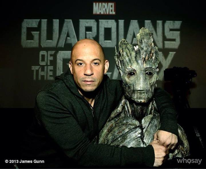 Vin Diesel confirms Guardians of the Galaxy role by posing with Groot
