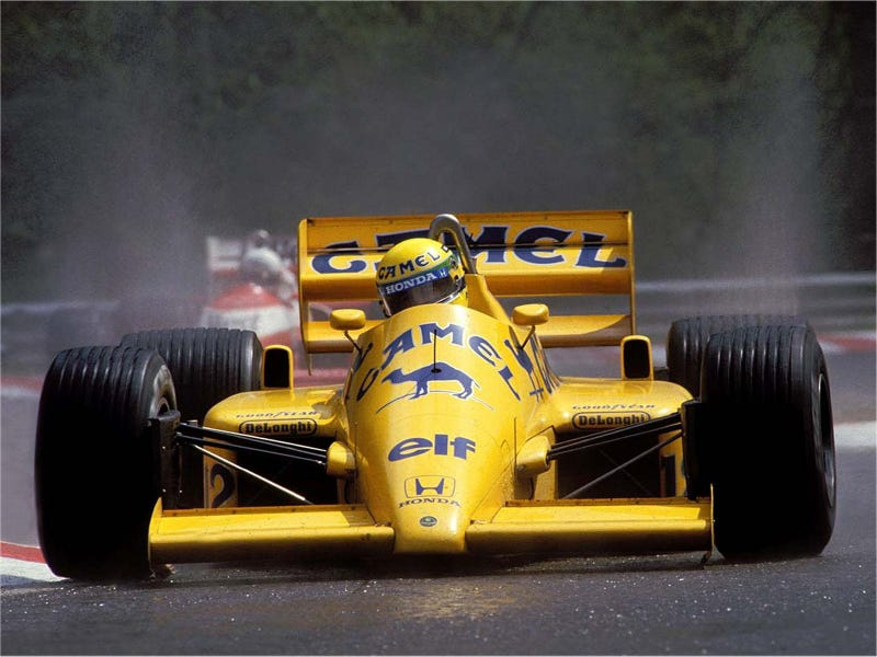 Here's a pic of Ayrton Senna doing his thing in a 1987 Lotus F1