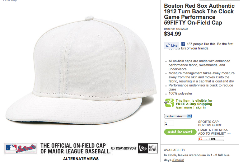 For Just $34.99 Plus Tax Plus Shipping And Handling, This Plain White Cap Can Be Yours