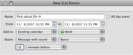 Speed Up iCal Entries with Do-It