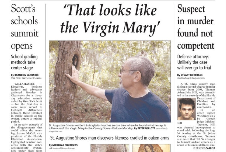 Man Finds Tree That Looks Like Virgin Mary, Lies Local Paper