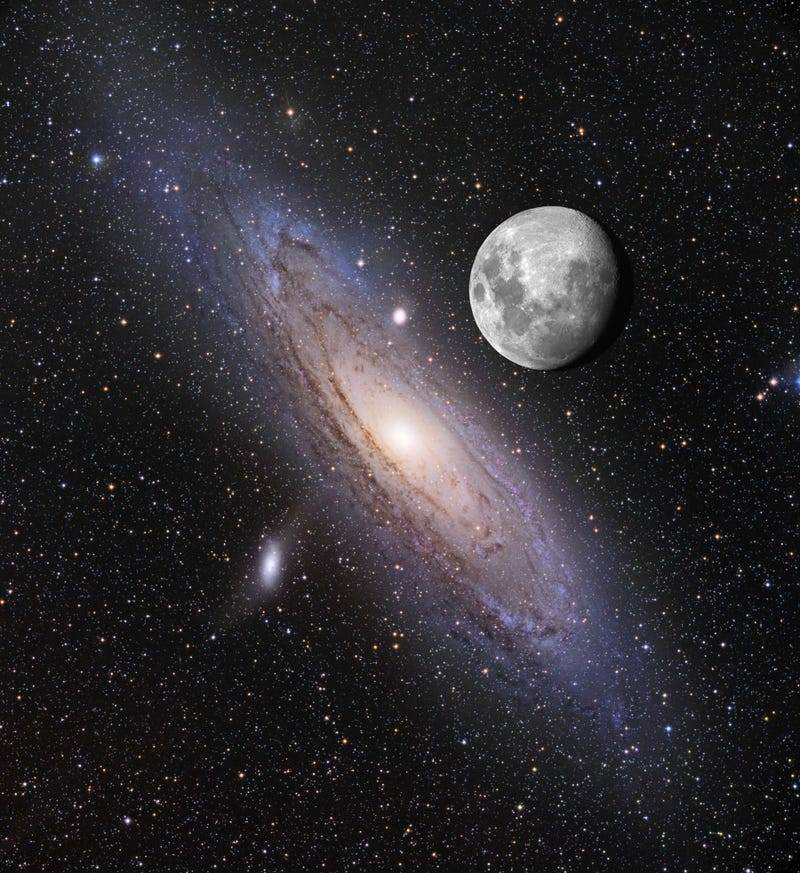 The incredibly huge size of Andromeda next to the Moon