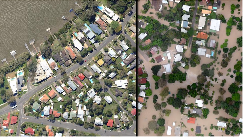 The Australian Floods, Before and After