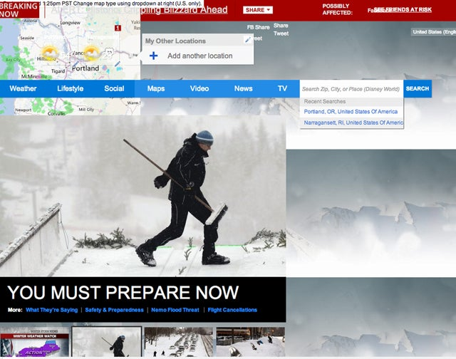 Snow Panic Has Driven Weather.com Completely Insane