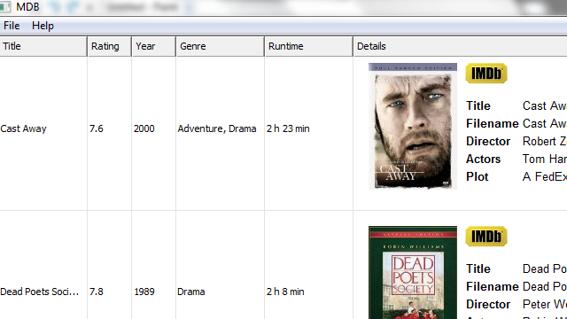MDB Downloads Art, Ratings, and Other IMDB Data for Your Movie Collection with a Right-Click