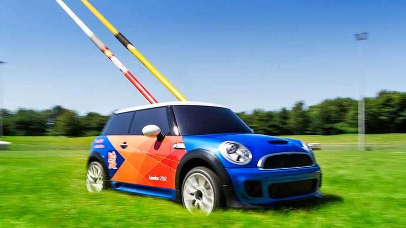 The Olympics Are Using Miniature RC Mini Coopers To Retrieve Javelins and Other Track & Field Gear