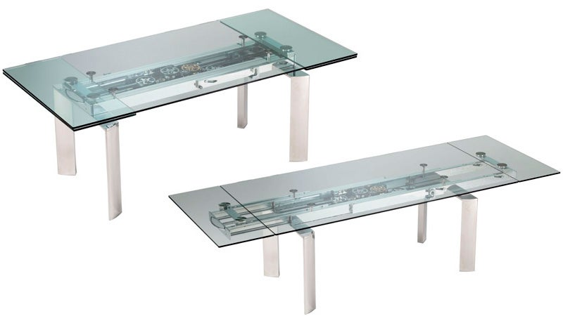 Awesomely Over-Engineered Extending Glass Table Will Outshine Any Meal