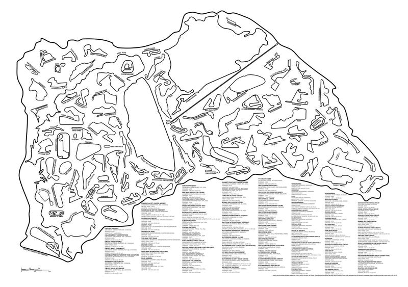 95 Racetracks to Scale in One Graphic