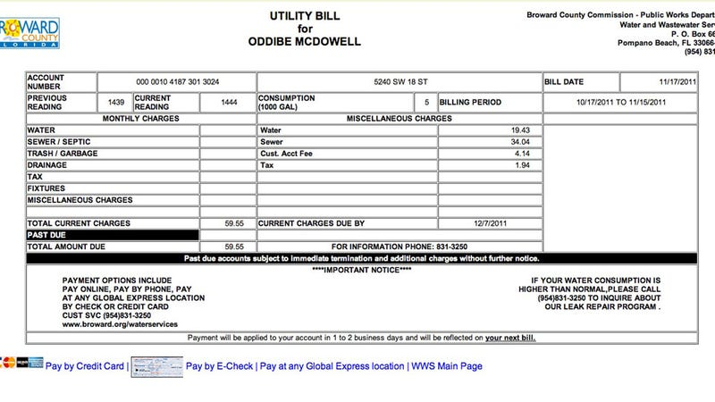 Update: Oddibe McDowell's Water Bill Is A Modest $59.55 This Month