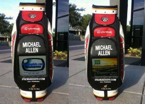 Pro Golfer Advertising with LCD-Loaded Bag