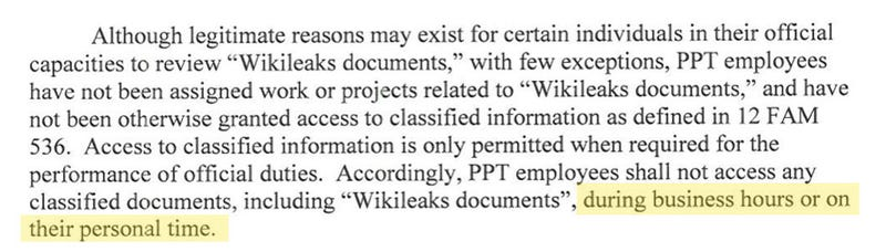 State Department Bars Employees From Reading Wikileaks on 'Personal Time'