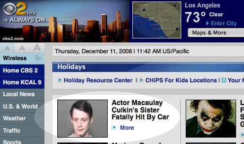 CBS Uses Classy Photo Choice to Imply Macaulay Culkin Killed His Sister