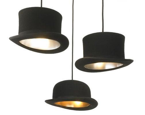 Bowler Cap Lampshade Turns Lightbulbs into London's Head Circa 1850