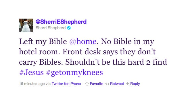 Sherri Shepherd Is Pretty Goddamn Pissed That Her Hotel Room Was Missing A Bible