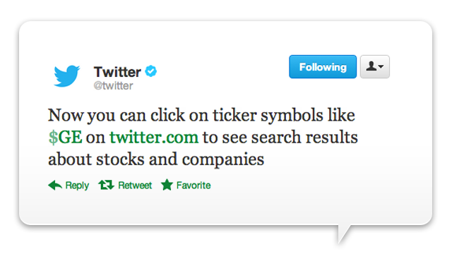 The Cashtag Arrives to Pollute Your Twitter Feed With Stock Info