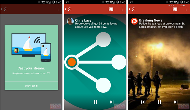 Google+ Android App Adds Chromecast Support