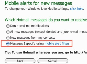 Set Up SMS Alerts for Specific Messages in Hotmail