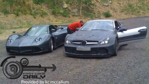 Pagani Zonda And Mercedes-Benz SL65 AMG Black Palling Around
