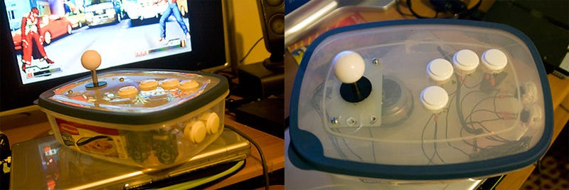 Tupperware Arcade Stick Throws Hadoukens, Totes Sammiches