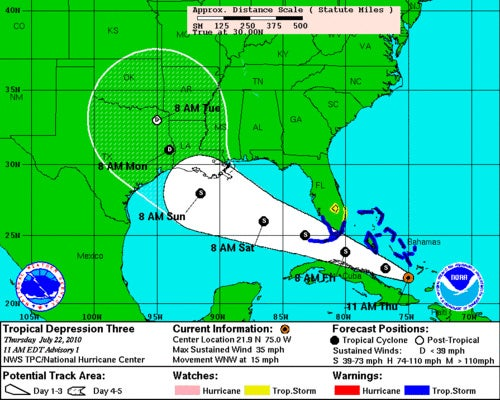 Tropical Storm Heading For BP Oil Spill