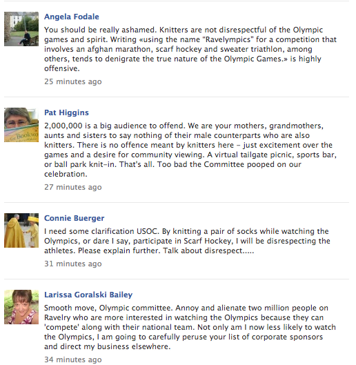 Angry Knitters Invade U.S. Olympic Committee Facebook Page After Knitting Olympics Diss