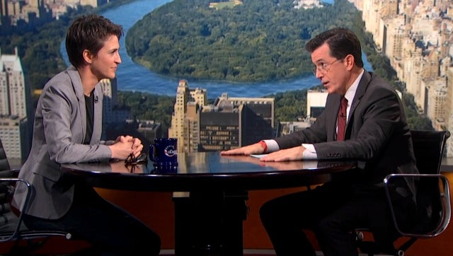 ICYMI: Stephen Colbert Calls Bullshit on Rachel Maddow's Olive Branch to Conservatives