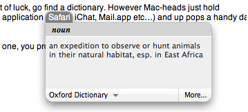 How to use Apple OS X's built-in dictionary