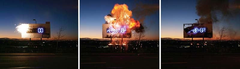 Exploding Billboard Advertises by Destroying Advertisement
