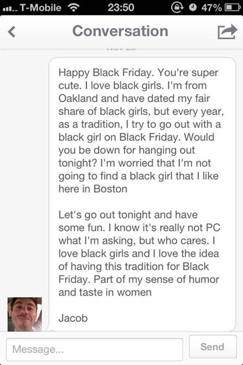 OK Cupid Racist POS: I Try to Go Out With a Black Girl on Black Friday