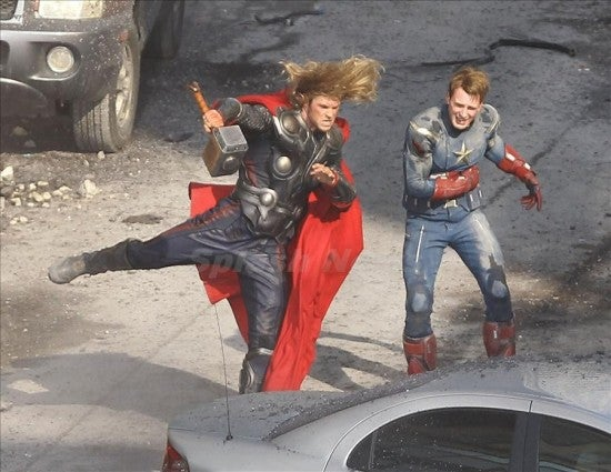 Watch Thor and Captain America tag team a pack of bad guys on the set of The Avengers