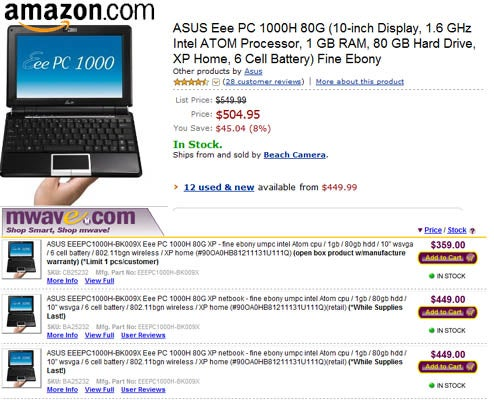 Eee PC 1000H Price Drops Even Lower; $450 on Amazon, $360 on MWave