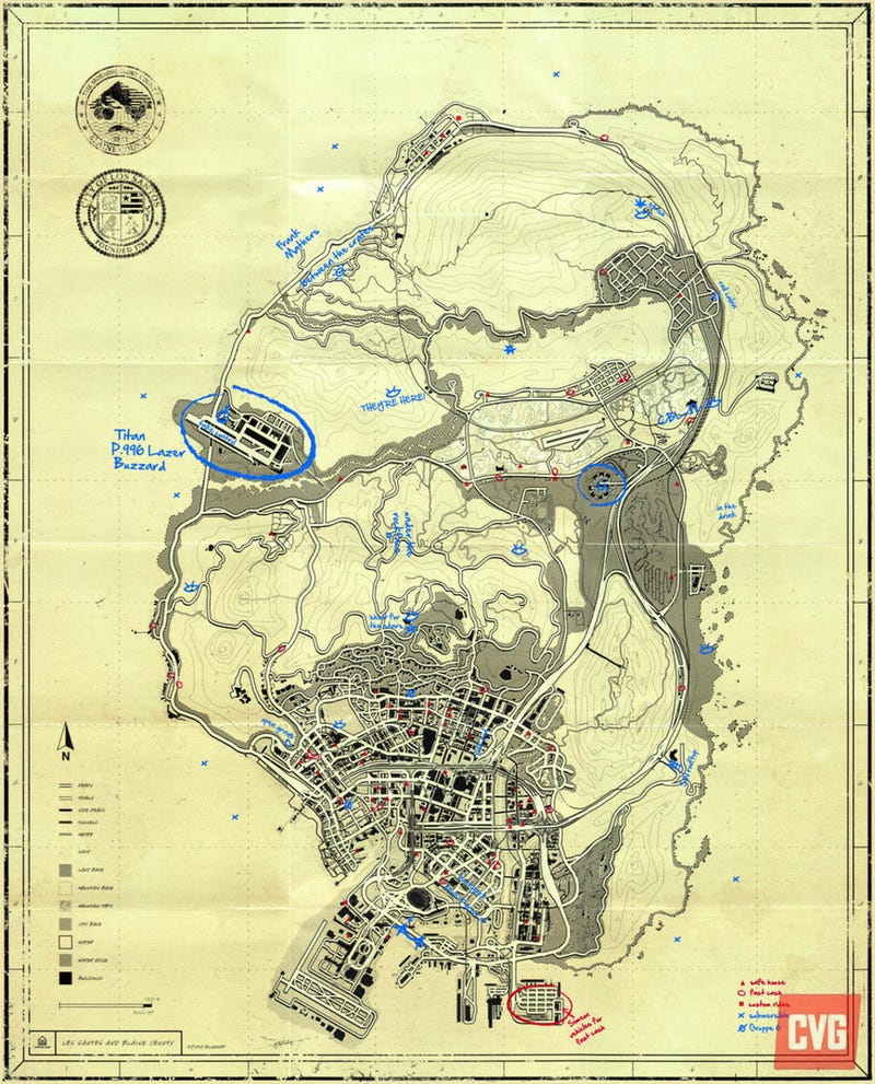Official GTA 5 Map Shows UFO Crash Sites Easter Egg Under Blacklight!
