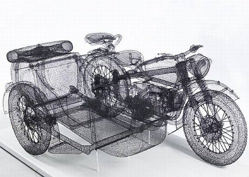 Chinese Artist Knits Ghost-Like All-Wire Motorcycle