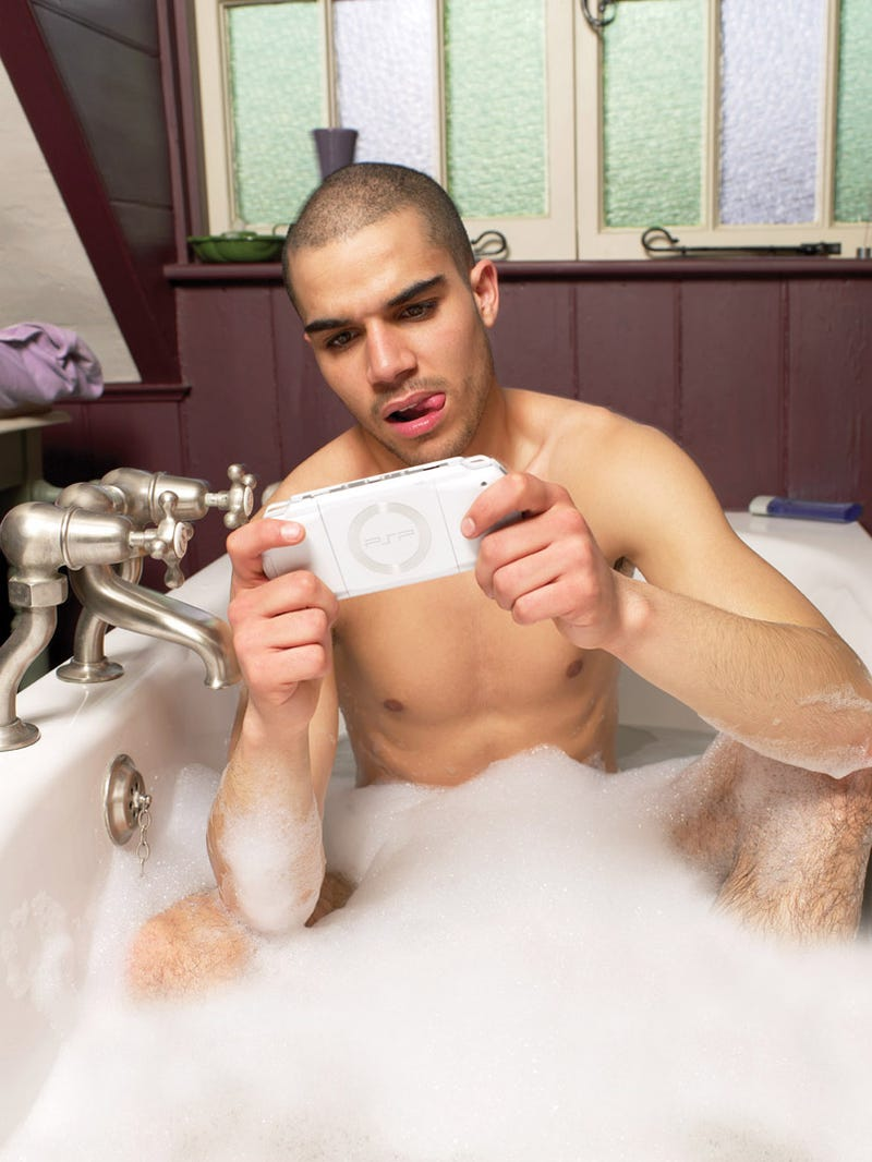 Man. Bathtub. PSP. Game Over?