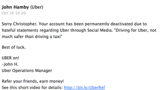 """Uber Fired a Driver Over a """"Hateful"""" Tweet About the Company"""