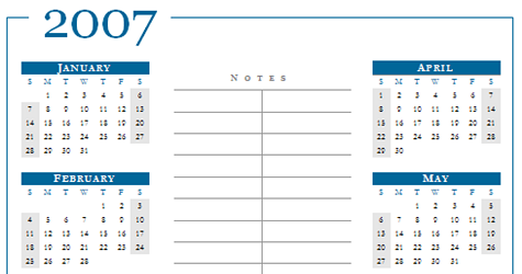 Download of they Day: 2007 calendar Word templates