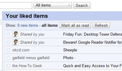 Display Just the Items You Liked in Google Reader