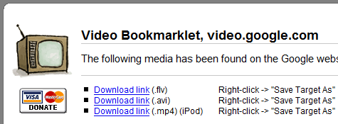 Download web video with the All-In-One Video Bookmarklet