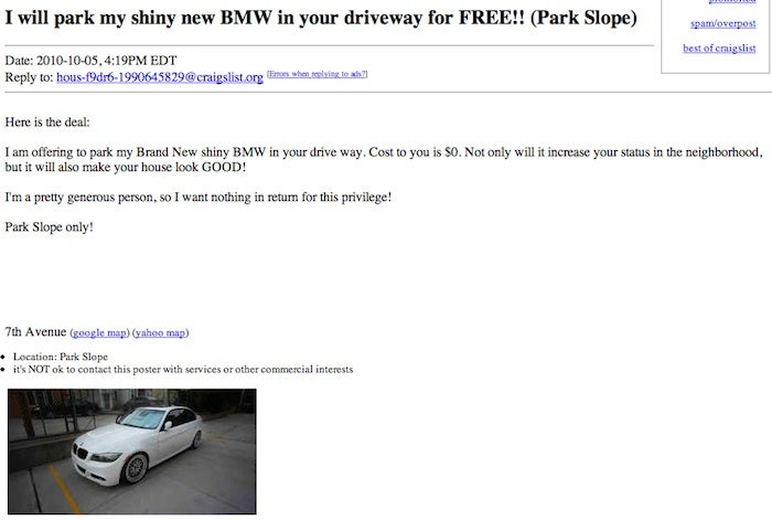 BMW Owner Will Generously Park In Your Driveway to Make You Look Cool