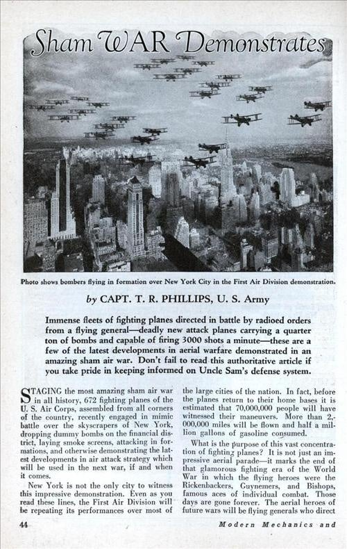In The 1930s, The US Conducted A Fake War Over The New York Skyline