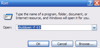 Faster Shutdowns Using the Run Dialog