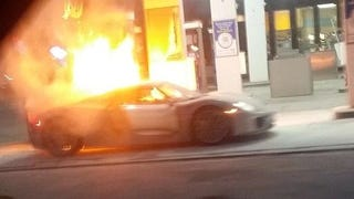 NOOOOOOO! First Porsche 918 Spyder Burns To Ground In Gas Station Fire