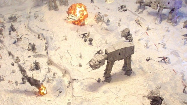 The battle of Hoth is being fought in this man's living room