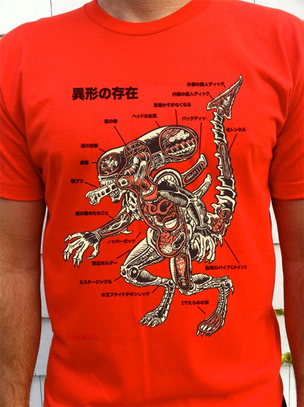 The anatomical guide to a xenomorph, on a t-shirt