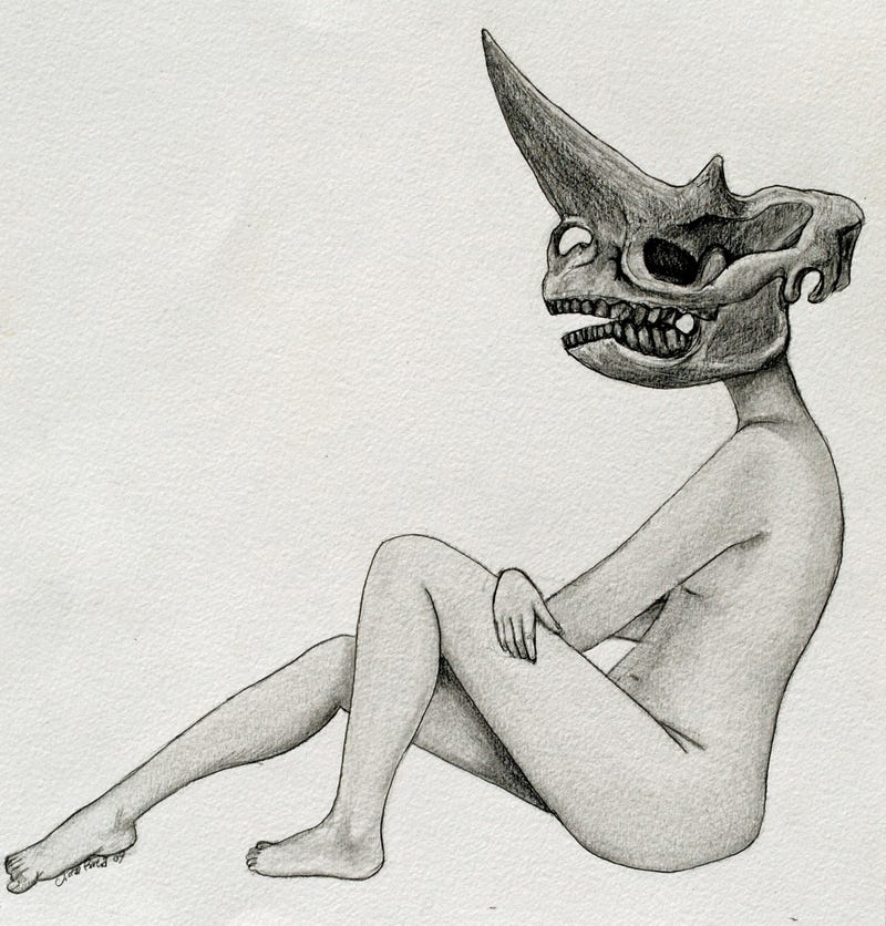 Paleontological pin-up girls have dinosaur skulls for heads