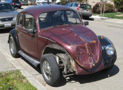 1969 Volkswagen Beetle, Before And After Mishap