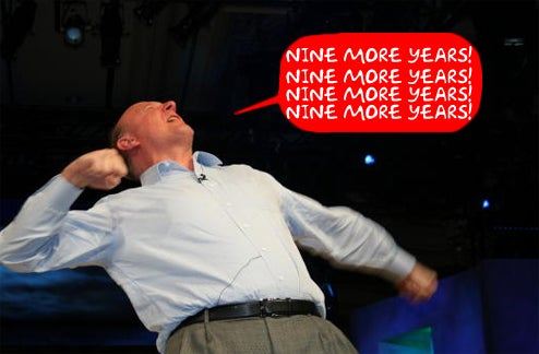 "Ballmer: Running Microsoft 'Til 2017, and They're Going ""Up, Baby, Up, Up, Up, Up, Up!"""