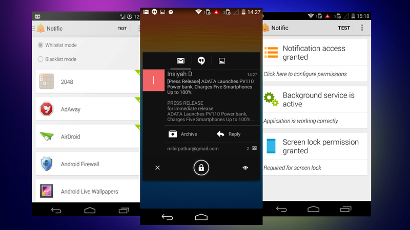 Notific Smartly Switches Screen On and Off for App Notifications
